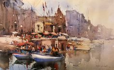Original watercolor art for sale watercolor city, watercolor artists, w Watercolor City, Watercolor Artwork, Rishikesh, Famous Watercolor Artists, Composition Art, Art For Sale Online, Art Online, Indian Artist, Varanasi