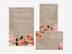 DIY English Garden Digital Wedding Invitation Set