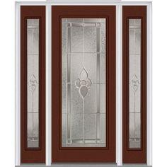 Milliken Millwork 68.5 in. x 81.75 in. Master Nouveau Decorative Glass Full Lite Painted Majestic Steel Exterior Door with Sidelites, Redwood