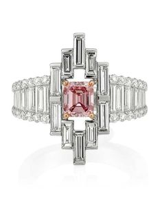 Mondial Pink Diamond Atelier Cathedral pink diamond ring in platinum featuring an emerald-cut 0.83ct natural Argyle pink diamond