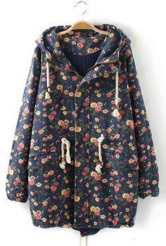 http://www.trendzystreet.com/clothing/dresses  - Vintage Floral Print Denim Coat Outerwear
