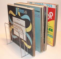 LP Vinyl Record Metal Storage Wire Rack Bin Stand Crate 1960s silver holds 60