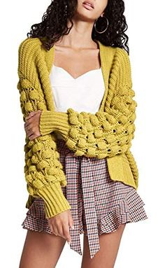 97a85f4da8 GirlzWalk New Women Ladies Chunky Knitted Oversized Baggy Bubbles Bobble  Sleeve Open Cardigan (Mustard ML