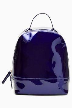 Темно-синий Лакированный рюкзак