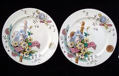 2 Aesthetic Movement Transferware Plates ~ SAIGON 1883 - For sale on Ruby Lane #RubyLane