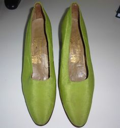 Vintage green satin shoes size 4.5 Harvey Nichols Knightsbridge 1930's