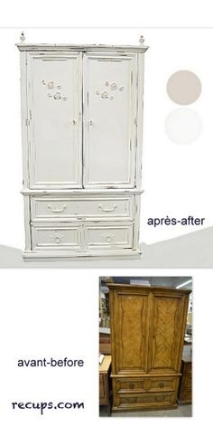 Painted white, added, curtain finials at the top and appliqués on the doors!