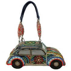 "Mary Frances Wild Ride Car Purse The ""roof"" opens for a large interior compartment to hold all of your necessities. The body of the bag is all hand-beaded in an ultra-psychedelic manner #handbags"