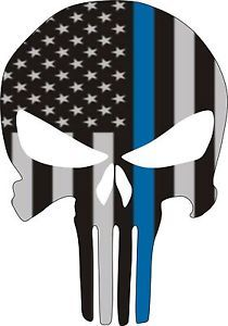 Five of Punisher Skull Thin Blue Line Subdued Flag Police SWAT ...