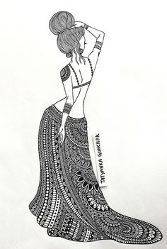 drawing by Tatyanka-Gunchak on DeviantArt Girl Drawing Sketches, Art Drawings Sketches Simple, Doodle Art Drawing, Dark Art Drawings, Zentangle Drawings, Mandala Drawing, Pencil Art Drawings, Ganesha Drawing, Mandala Art Lesson