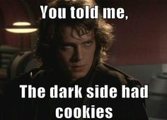 Darth Maule (or how ever you spell it):Come to the dark side side, we have cookies  Anakin: You told me, the dark side had cookies. NOW I MUST DESTROY YOU!