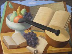 Gino Severini Natura Morta con fruttiera,uva,libri e mandolino. - Gino Severini - Mediartrade