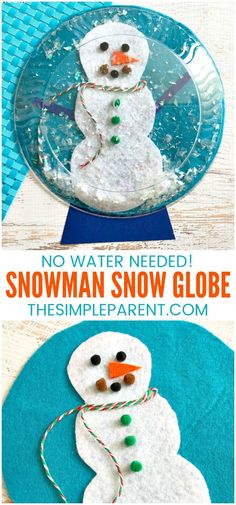 Snowman Snow Globe Craft - This easy DIY craft for kids is perfect for preschool through kindergarten. Older kids can help out too! You can use pom poms, ribbon, and leftover craft supplies to decorate the snowman! #kidsactivities #kidsart