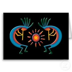 Kokopelli with Sun Southwest Black Greeting Card