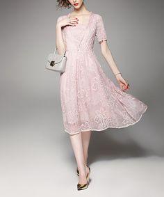 Another great find on #zulily! Pink Floral Silk-Blend A-Line Dress #zulilyfinds