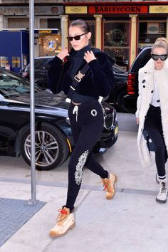 Bella Hadid and Gigi Hadid seen out and about in Manhattan on December 20 2017 in New York City