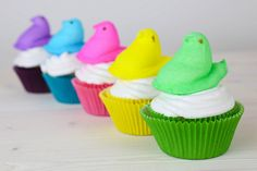 Peeps Cupcakes with Marshmallow Frosting