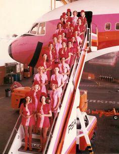 pink flight attendants, pink plane