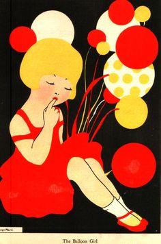 The Balloon Girl Vintage Book Plate..