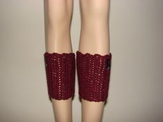 Plum Purple Crochet Boot Cuffs with Gray black by OtiliaBoutique, $25.00
