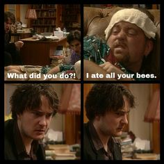 roughly, all of the bees British Tv Comedies, British Comedy, Dylan Moran, English Comedy, Comedy Tv Shows, Jam Jam, Tv Shows Funny, British Humor, Uk Tv