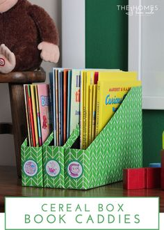 The Homes I Have Made @ My Daily Bubble | DIY Book Caddies from Cereal Boxes