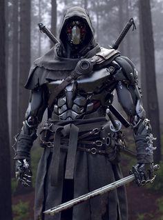 Rate work from 1 to . Robot Concept Art, Armor Concept, Fantasy Armor, Dark Fantasy Art, Fantasy Character Design, Character Art, Ninja Kunst, Cyber Ninja, Mode Cyberpunk