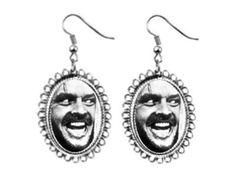 jack nicholson shining Earrings silver plated oval pendant charm