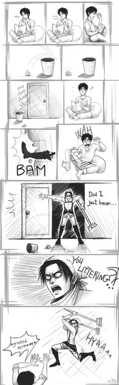 Cant..stop..hurting Eren.. Sadism + OCD + trash + broom = violent Levi. Long one.