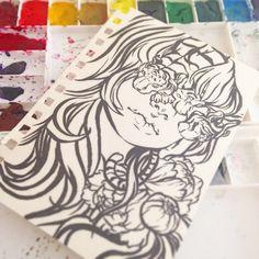 Up next.  #art #artist #artwork #artshare #artistsonig #myart #lineart #pentelbrushpen #pentel #watercolor #watercolour #drawing #doodle #sketch #painting #jennaleeauclair #canada #girl