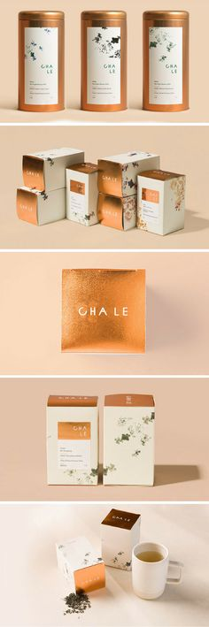 Cha Le Tea packaging by Glasfurd and Walker. Packaging using gold foil and a floral design in a japanese style for an organic brand. Organic Packaging, Honey Packaging, Tea Packaging, Luxury Packaging, Chocolate Packaging, Pretty Packaging, Beauty Packaging, Brand Packaging, Packaging Ideas