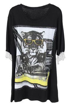 Tiger Print Black T-Shirt #ROMWE
