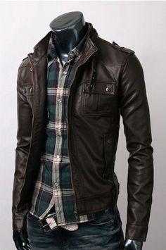 Strap Pocket Slim-fit Dark Brown Jacket  #leatherjacket #blackleatherjacket #mensjacket #slimfitleatherjacket #slimfitjacket #blackjacket