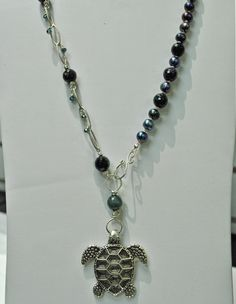 turtle, gems & pearl necklace