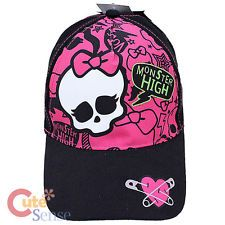 Monster High Skull Logo Baseball Cap Kids Adjustable Hat  - Pink Black