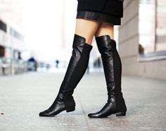 New-Womens-Black-Leather-Vince-Camuto-Karita-Over-the-Knee-Boots-Size-US-11