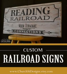 Vintage Hand Painted Railroad Sign - Custom Wooden Railroad Signs with Your Name or City - Wooden Train Sign - Church Street Designs