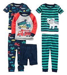 Simple Joys by Carter's Boys Baby 6-Piece Snug Fit Cotton Pajama Set, Transportation/Dog, 12 Months