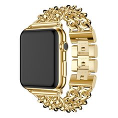 Apple Watch Metal Link Replacement Band (1.185 RUB) ❤ liked on Polyvore featuring jewelry, watches, gold, jewelry & watches, apple watches, metal jewellery, unisex jewelry, metal watches and metal jewelry