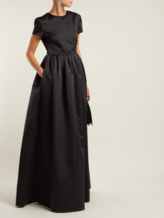 Black duchess satin gown | Rochas | MATCHESFASHION.COM