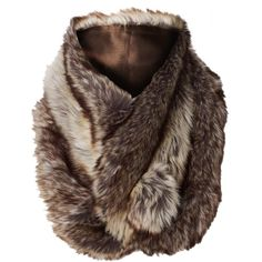 Faux Fur Snug Scarf ($20) ❤ liked on Polyvore featuring accessories, scarves, fur, jackets, outerwear, brown, brown faux fur shawl, fake fur scarves, wrap shawl and faux fur shawl