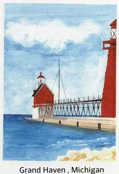 Grand Haven, Michigan lighthouses. Watercolor 5x7, by Debra L Pate.