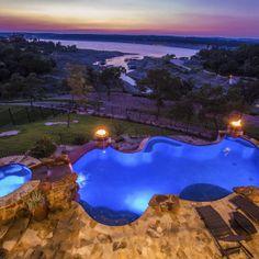 Lake Travis Modern Italian Pool Sunset by Zbranek and Holt Custom Homes