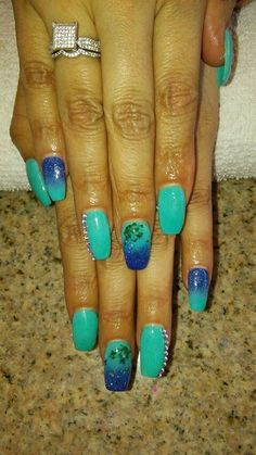 Nails designs ombre turquoise & blue