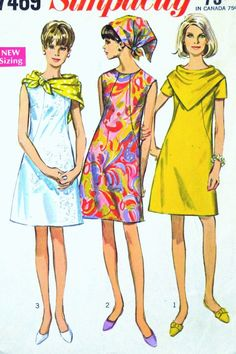 Dress Pattern Mod Collarless Triangular Scarf Simplicity 7469 Vintage Sewing Womens Misses Size 12 Bust 34 Simplicity pattern 7469 from Cut, complete, has instructions, envelope in fair - wrinkled - shape. Motif Vintage, Vintage Dress Patterns, Clothing Patterns, Vintage Outfits, Vintage Dresses, Vintage Fashion, Retro Mode, Vintage Mode, Patron Vintage