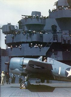 F6F-3 Hellcat fighter being prepared for launch aboard USS Yorktown during the carrier's shakedown cruise, May 1943.