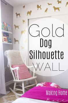 Gold Dog Silhouette Accent Wall #wallsneedlove #temporarywalltreatments