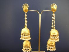 Double jhumka silver with gold plated