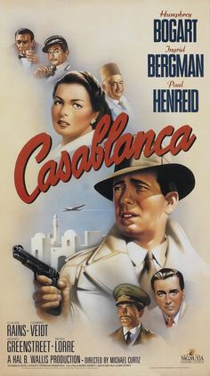 CASABLANCA Movie Poster Humphrey Bogart 1942 Classic Hollywood