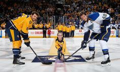 Three handsome men! The ceremonial puck drop on the Preds' HockeyFightsCancer Awareness Night.